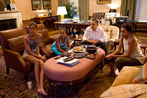 Dinner with his family is one of many daily routines for the President.